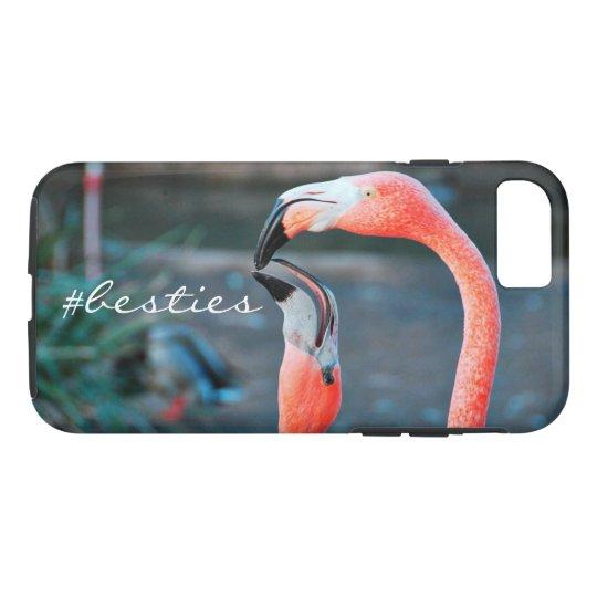 """# Besties"" Quote Cute Orange Pink Flamingos Photo"
