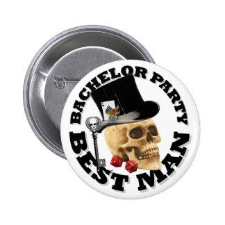 Bestmans Gothic gambling skull bachelor party 6 Cm Round Badge