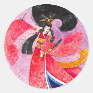 Besuto Samurai Sticker, Large Round Sticker