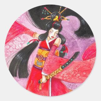Besuto Samurai Sticker, Small Round Sticker