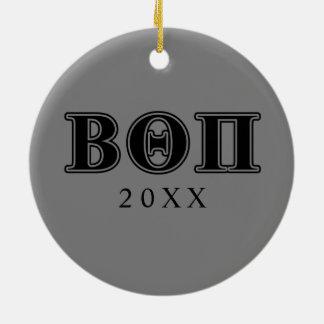 Beta Theta Pi Black Letters Christmas Ornament
