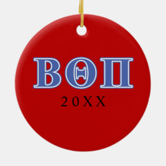 Beta Theta Pi Blue Letters Christmas Ornament