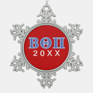 Beta Theta Pi Blue Letters Snowflake Pewter Christmas Ornament