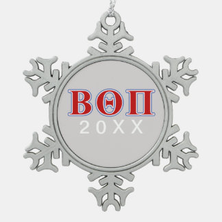 Beta Theta Pi Red and Blue Letters Snowflake Pewter Christmas Ornament