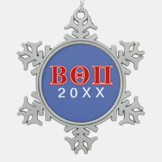 Beta Theta Pi Red Letters Snowflake Pewter Christmas Ornament