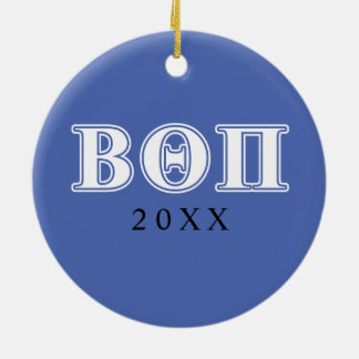 Beta Theta Pi White and Blue Letters Christmas Ornament