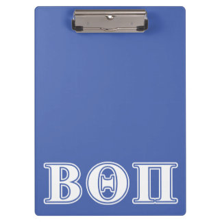 Beta Theta Pi White and Blue Letters Clipboard