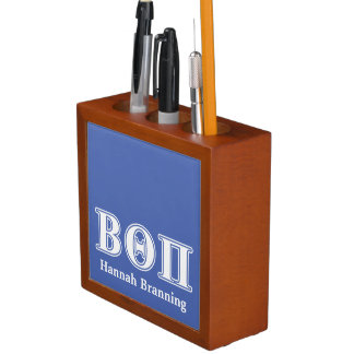 Beta Theta Pi White and Blue Letters Desk Organiser