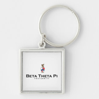 Beta Theta Pi with Crest - Color Silver-Colored Square Key Ring