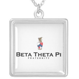 Beta Theta Pi with Crest - Color Silver Plated Necklace