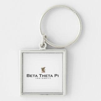 Beta Theta Pi with Dragon - Color Silver-Colored Square Key Ring