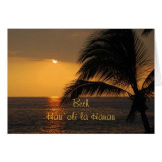 Beth Hawaiian Happy Birthday Tropical Sunset Card