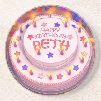 Beth s Birthday Cake Drink Coaster
