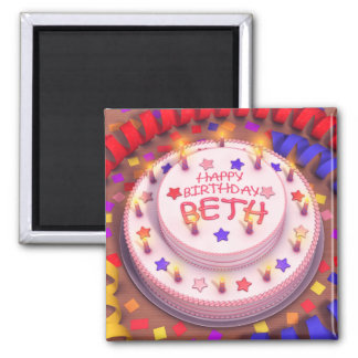Beth s Birthday Cake Fridge Magnet