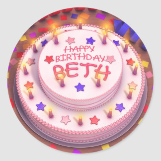 Beth s Birthday Cake Round Stickers