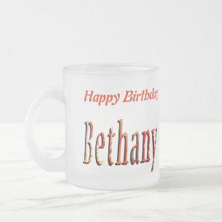 Bethany Girls Name Logo Frosted Glass Coffee Mug