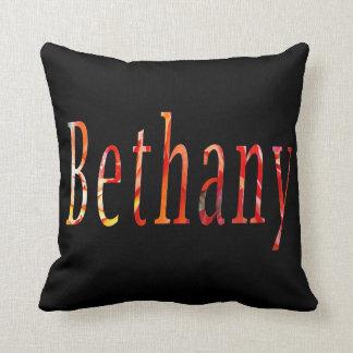 Bethany, Name, Logo, Black Throw Cushion. Cushion