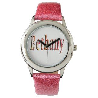 Bethany, Name, Logo, Girls Pink  Glitter Watch