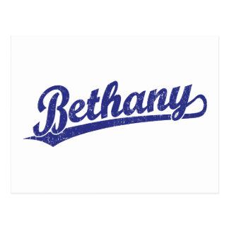 Bethany script logo in blue postcard