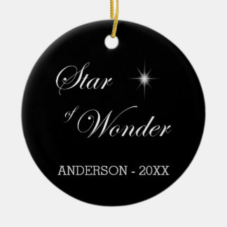Bethlehem Star of Wonder Black Gothic Christmas Ornament