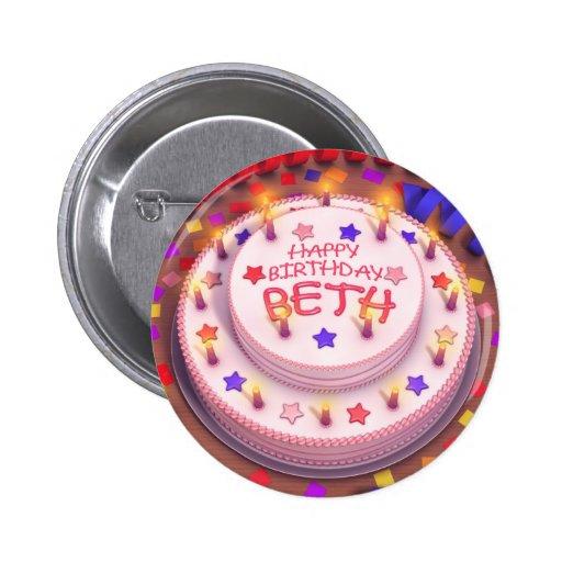 Beth's Birthday Cake Pinback Button