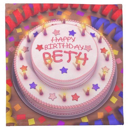 Beth's Birthday Cake Napkin