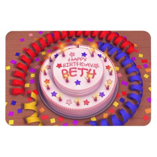Beth's Birthday Cake Rectangle Magnets