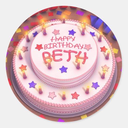 Beth's Birthday Cake Round Stickers