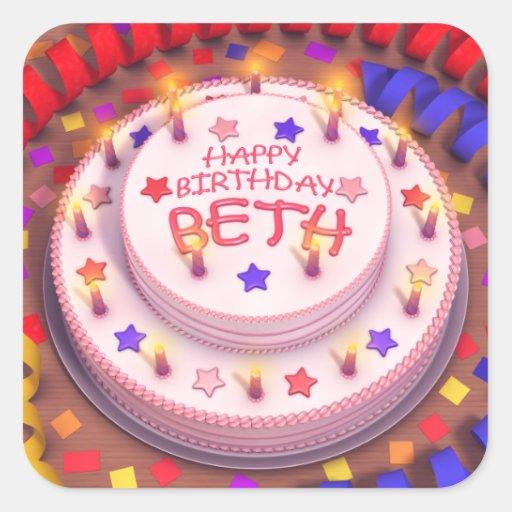 Beth's Birthday Cake Square Stickers