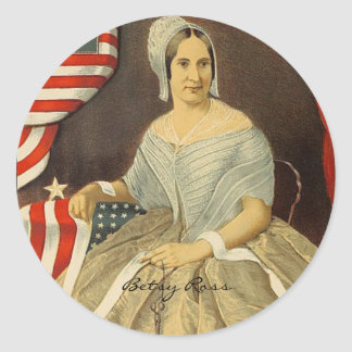 Betsy Ross First American Flag Vintage Portrait US Classic Round Sticker
