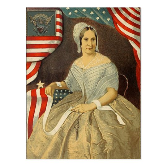 Betsy Ross First American Flag Vintage Portrait US