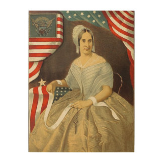 Betsy Ross First American Flag Vintage Portrait US Wood Canvas