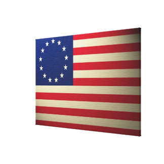 Betsy Ross Flag Canvased Antiqued Gallery Wrapped Canvas
