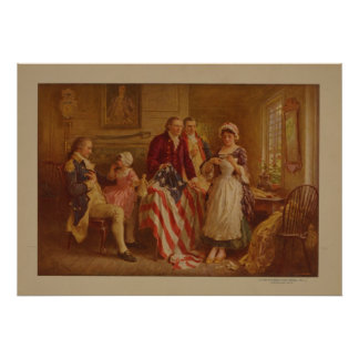 Betsy Ross making the first American Flag Poster