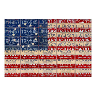 Betsy Ross Style American License Plate Flag Art Poster