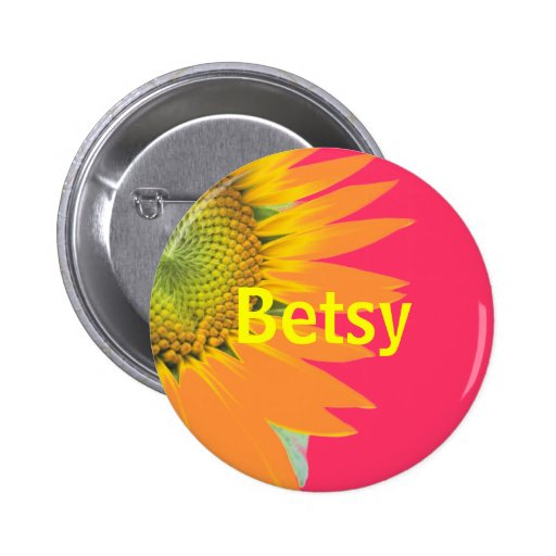 Betsy Sunflower Pink and Yellow Bright Name Badge Button