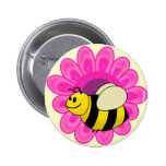 Betsy the Buzzy Bumble Bee Cartoon Pinback Buttons