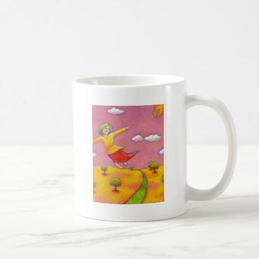 Better Days - Flying Girl and her cat fun art Coffee Mug