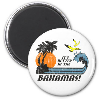Better in Bahamas Faded 6 Cm Round Magnet