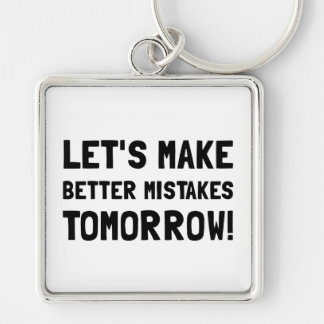 Better Mistakes Silver-Colored Square Key Ring