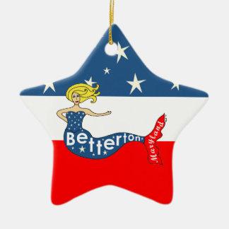 Betterton Mermaid Red, White & Stars Christmas Ornament