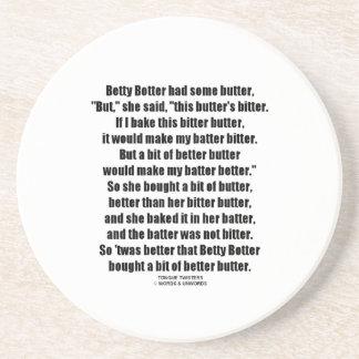 Betty Botter Better Butter (Tongue Twister) Sandstone Coaster