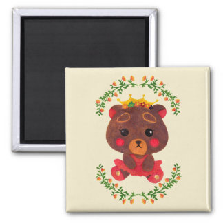 Betty the Little Bear Princess Square Magnet