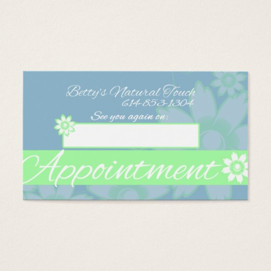 Betty's Natural Touch Business Card