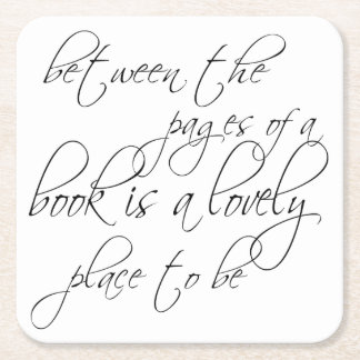 Between the Pages of a Book Square Paper Coaster