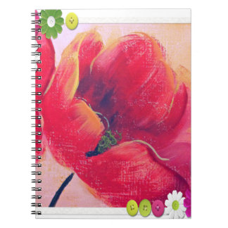 beutiful poppy  red flower  note book