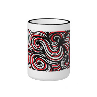 Beuttel Abstract Expression Red White Black Ringer Mug
