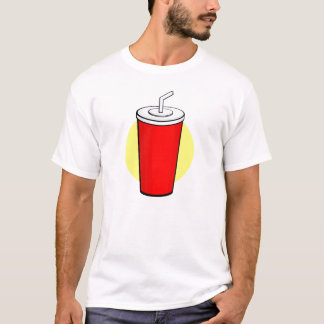 Beverage cup with drinking straw shirt