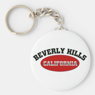 Beverly Hills, California Basic Round Button Key Ring