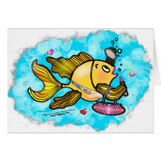 Beverly Hills Housewife Fish cute funny comics Greeting Card